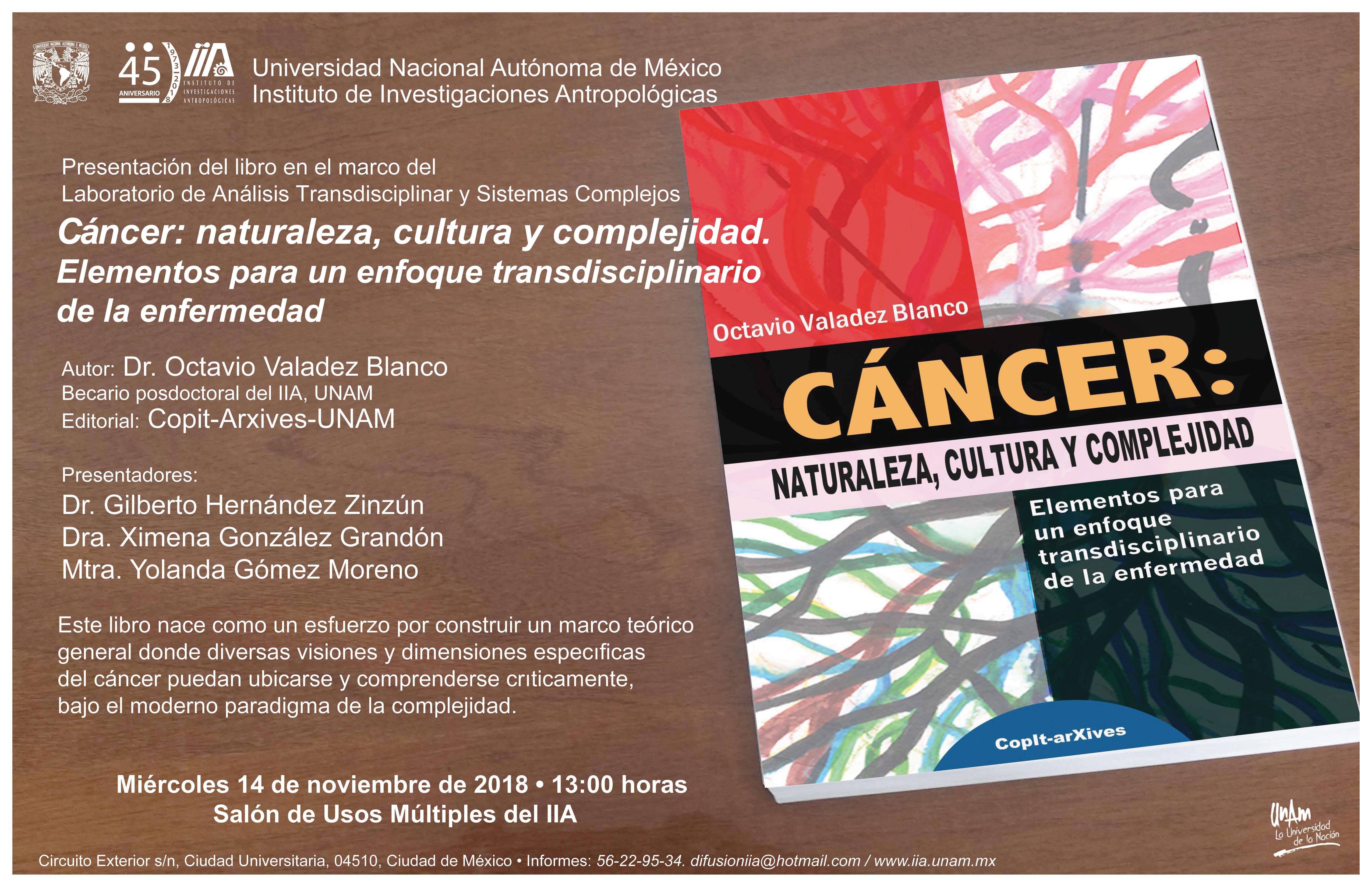 Presentación de libro y diálogo crítico sobre el cáncer.